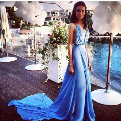 Sky Blue Deep V Neck Prom Dresses Side Split Backless  Summer Sexy Evening Gowns_2