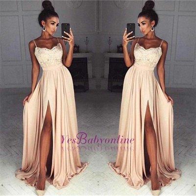 Gorgeous Split Chiffon Prom Dresses   Sexy Spaghetti Straps Evening Gowns_1