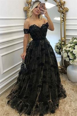 Black Off-the-shoulder A-line Prom Dresses | Lace Appliques Evening Gowns_1
