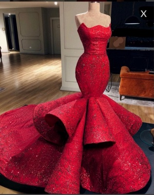 Gorgeous Mermaid Strapless Beadings Prom Dress with Court Train_1