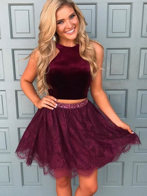 Beautiful Two Pieces Burgundy Lace Homecoming Dress Short With Sequins BA7014_1