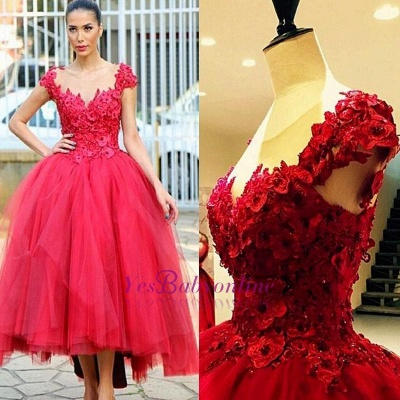 2019 Red Ball Gown Party Dresses 3D-Floral Appliques Hi-Lo Chic Prom Dresses_1