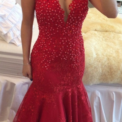 Mermaid Delicate Red V-neck Lace Cap-Sleeve Pearls Prom Dress_3