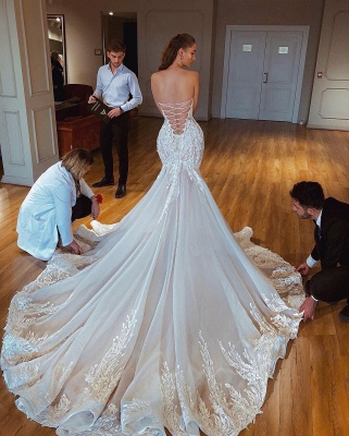 Strapless Sexy Lace Mermaid Wedding Dresses   Criss-cross Bridal Gowns_2