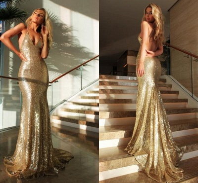 Sexy Gold  Prom Dress Sleeveless Sequins V-Neck Mermaid Backless Evening Gowns_4
