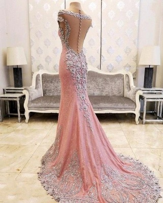 Luxury Pink Mermaid Prom Dresses V-Neck Crystals Evening Gowns_3
