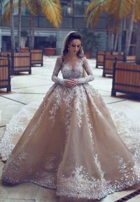 Luxury Ball Gown Wedding Dresses | Long Sleeves Beading Bridal Gowns_1