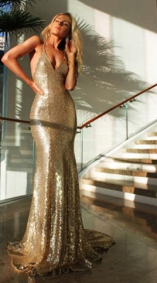 Sexy Gold  Prom Dress Sleeveless Sequins V-Neck Mermaid Backless Evening Gowns_2