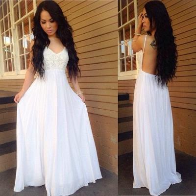 Lace White A-line Spaghetti-Strap Chiffon Newest Backless Prom Dress_3