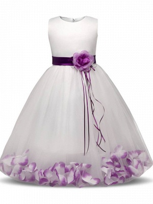 Lovely A-Line Tulle Scoop Appliques Sashes Ankle-Length Flower Girl Dress_1