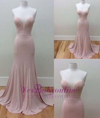 Simple Sleeveless Mermaid Sweetheart-Neck Pink Long Prom Dresses_1