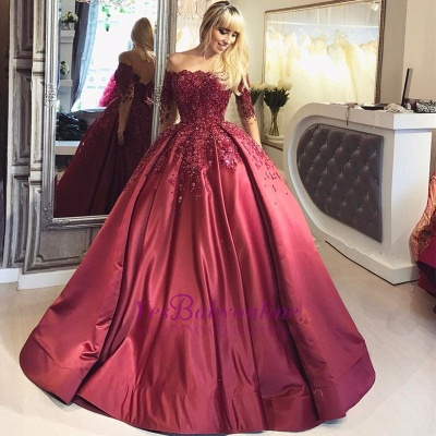 Burgundy Off-the-Shoulder Long-Sleeves Appliques Ball Crystal Prom Dresses_1