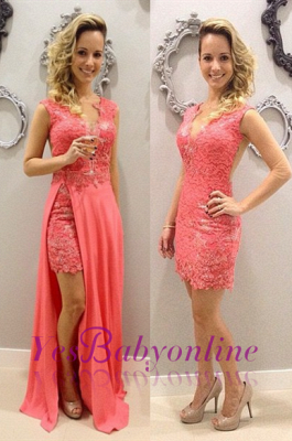 Train Detachable Lace Elegant V-neck Chffion Sleeveless Pink Short Evening Dresses_2