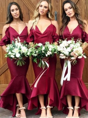 High-low V-Neck Bridesmaid Dresses | Mermaid Spaghetti Straps Maid of the Honor Dresses with Ruffles_1