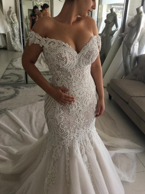 Glamorous Beaded Mermaid Wedding Dresses | Off-the-Shoulder Backless Bridal Gowns_1