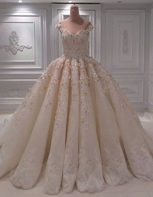 Lace Appliques Sweetheart Off the Shoulder Ball Gown Wedding Dresses_1