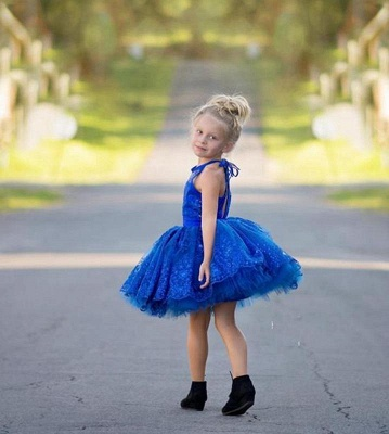 Cheap Royal Blue Lace Appliques Halter Puffy Mini Flower Girl Dress_3