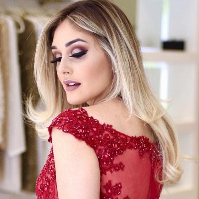 Mermaid Beading Sleeves Cap V-Neck Glamorous Lace Prom Dresses_5
