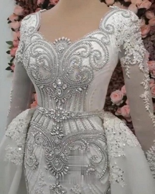 Sweetheart Crystal Fitted Wedding Dresses with Detachable Train and Sleeves_4