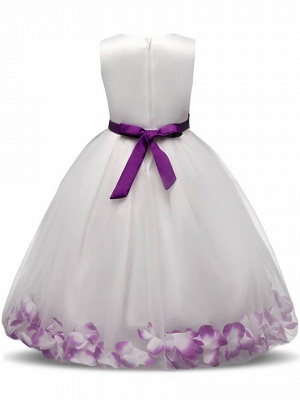 Lovely A-Line Tulle Scoop Appliques Sashes Ankle-Length Flower Girl Dress_3