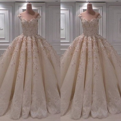 Lace Appliques Sweetheart Off the Shoulder Ball Gown Wedding Dresses_2