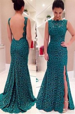Lace Front-Split Sleeveless Modest Sweep-Train Prom Dress_3
