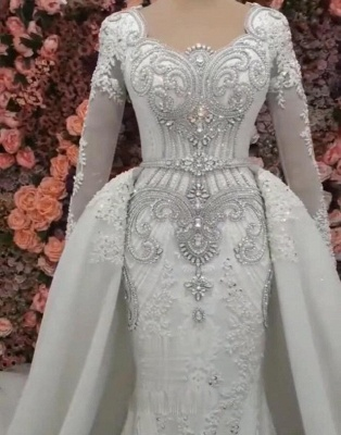 Sweetheart Crystal Fitted Wedding Dresses with Detachable Train and Sleeves_3