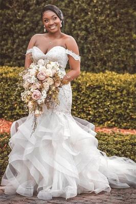 Off The Shoulder Sweetheart Applique Ruffles Mermaid Wedding Dresses_1