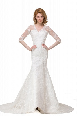 Zipper Glamorous V-Neck Half-Sleeves Lace Mermaid Wedding Dresses_4