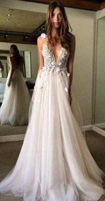 Sparkly A-line V-neck Tulle Wedding Dresses | Spaghetti Straps Beading Bridal Gowns_1