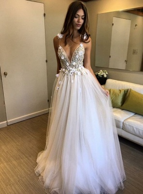 Sparkly A-line V-neck Tulle Wedding Dresses | Spaghetti Straps Beading Bridal Gowns_2