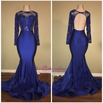 Beaded Long-Sleeves Ruffles-Skirt Royal-Blue Mermaid Prom Dresses_1