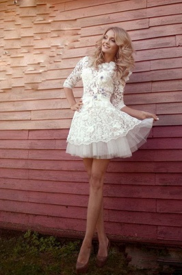 Sexy 3D-Floral Half-Sleeves Short See Through Appliques Wedding Dresses_3