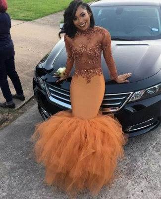 Sexy Dark Orange Prom Dresses | Sheer Appliques Long Sleeves Evening Gowns_2