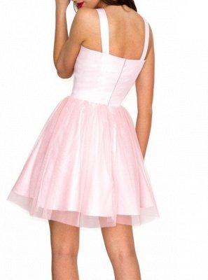 Chic A-Line Homecoming Dresses | Simple Straps Pink Cocktail Dresses_3
