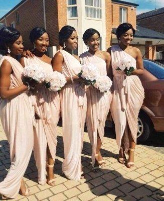 Front-Split A-line Long One-Shoulder Sleeveless Elegant Bridesmaid Dress_3