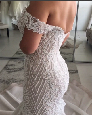Glamorous Beaded Mermaid Wedding Dresses | Off-the-Shoulder Backless Bridal Gowns_4