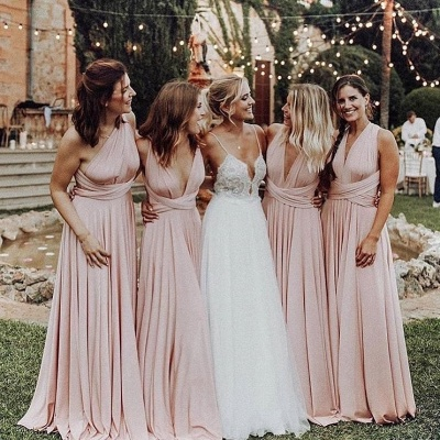Elegant A-Line Chiffon Ruched V-Neck Long Bridesmaid Dress | Wedding Party Dress BM0232_5