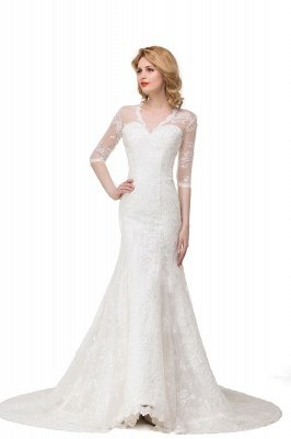 Zipper Glamorous V-Neck Half-Sleeves Lace Mermaid Wedding Dresses_2