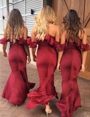 High-low V-Neck Bridesmaid Dresses | Mermaid Spaghetti Straps Maid of the Honor Dresses with Ruffles_3