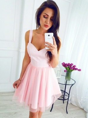 Chic A-Line Homecoming Dresses   Simple Straps Pink Cocktail Dresses_1