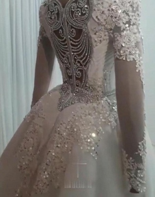 Sweetheart Crystal Fitted Wedding Dresses with Detachable Train and Sleeves_2