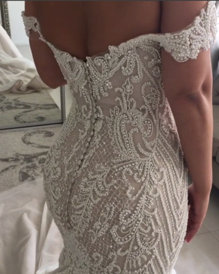 Glamorous Beaded Mermaid Wedding Dresses | Off-the-Shoulder Backless Bridal Gowns_3