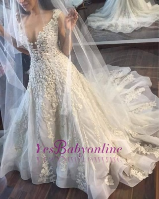 A-line Wedding Dresses V-Neck Flowers Ruffles Charming Bridal Gowns_1