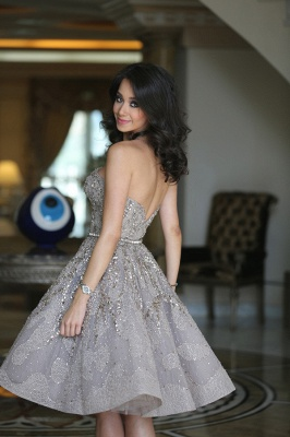 Gorgeous Full Sparkly Beads Knee Length Prom Dress Silver Sequins Organza New Homecoming Dress CJ0371_3