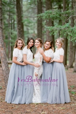 Long Short-Sleeve Silver 2019 White Lace Bridesmaid Dresses_1