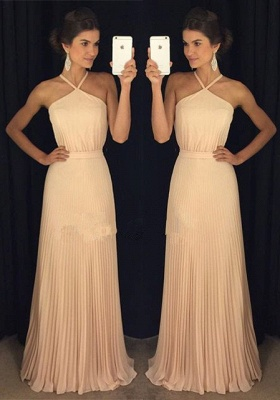 Gorgeous Ruched Long Prom Dresses Halter Neck Elegant Evening Gowns_2