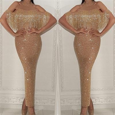 Golden Halter Sequined Ankle Length Sheath Prom Dresses   Beading Graduation Dresses_3