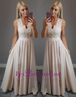 Split-front V-neck Lace Stylish  Champagne Evening Dress_1