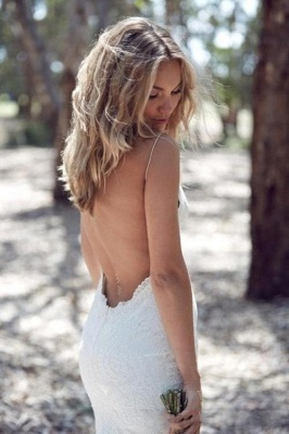 Backless Spaghettis-Straps Lace Summer Beach Mermaid Wedding Dresses_3